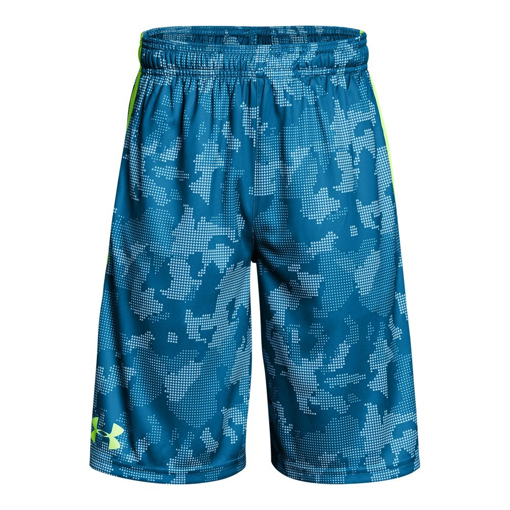 Under Armour Boys' Instinct Printed Shorts, Cruise Blue /Quirky Lime Youth Large by Under Armour