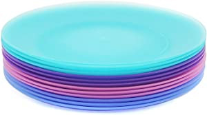 10-inch Plastic Dinner Plates Reusable Plates Picnic Plates | Set of 12 in Coastal Colors