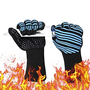 pengwanlai Aotusi Oven Mitts, 932°F Extreme Heat Resistant - Food Grade Level 5 Protection Kitchen, Silicone Non-Slip for Grilling, Baking, Cutting - Black & Blue (1 Pair)