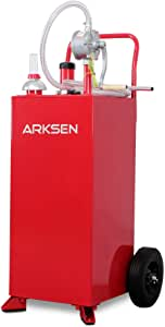 Arksen 30 Gallon Portable Gas Caddy Fuel Storage Tank Large Gasoline Diesel Can Hand Siphon Pump Rolling Flat-Free Solid Rubber Wheels Boat ATV Car Motorcycle