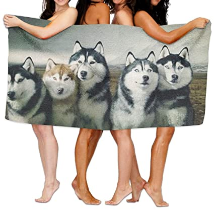 Husky siberiano perro sol sobre mis hombros toallas DUCHA habitación no color a la decoloración bath