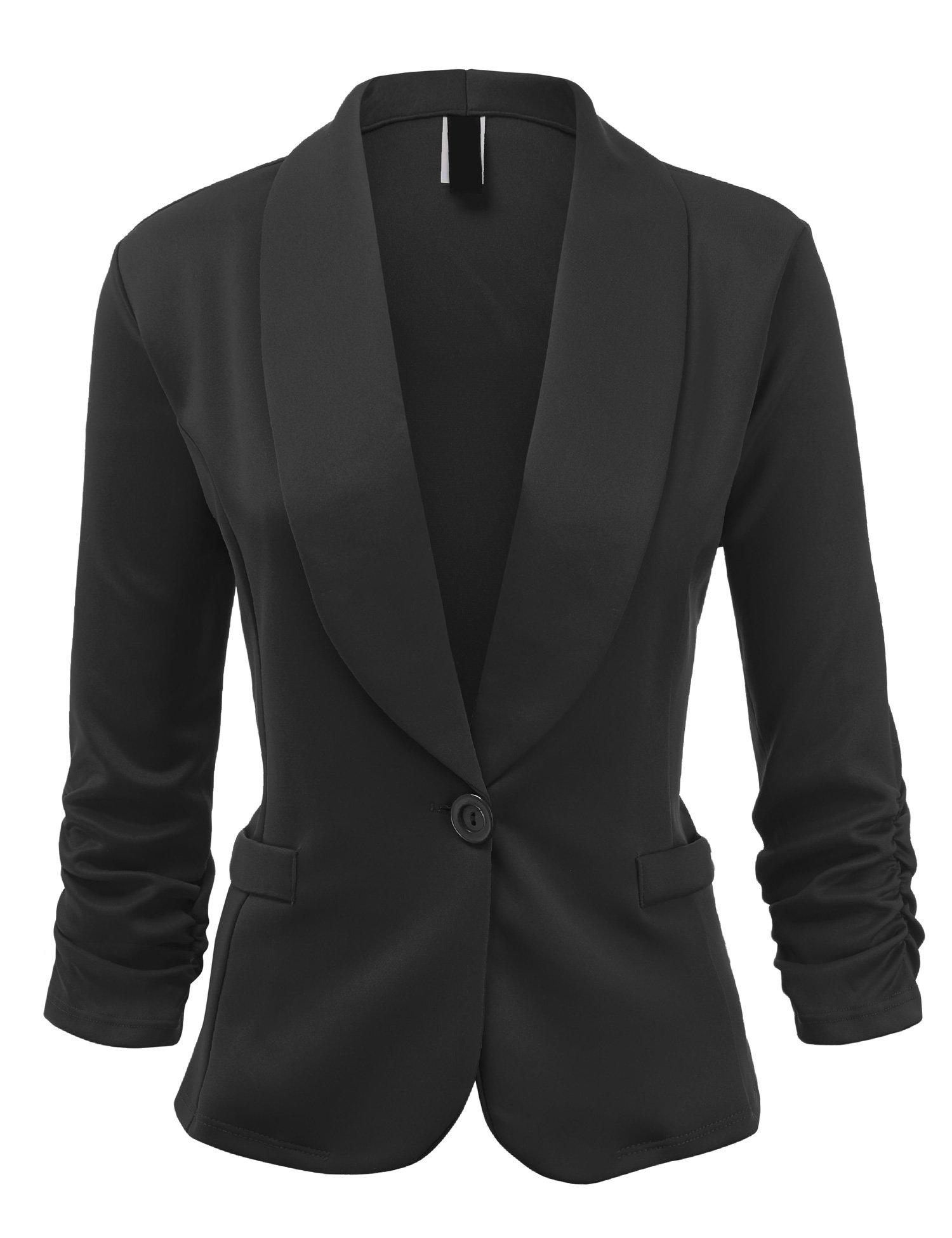 UUWJC1006 Womens Plus Size Solid One Button Waist Length Blazer Jacket 1X BLACK