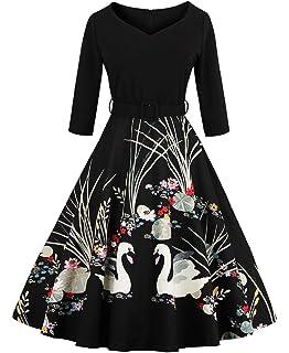 f8629fbfc04 DressLily Women Swan Printed Belted Dress  Amazon.co.uk  Clothing