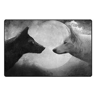 Benni giry Wolfs Blanco y Negro de rango Alfombra antideslizante Diario de DF920felpudos para salón dormitorio 78,7x 50,8cm, poliéster, multicolor, 31 x 20 inch
