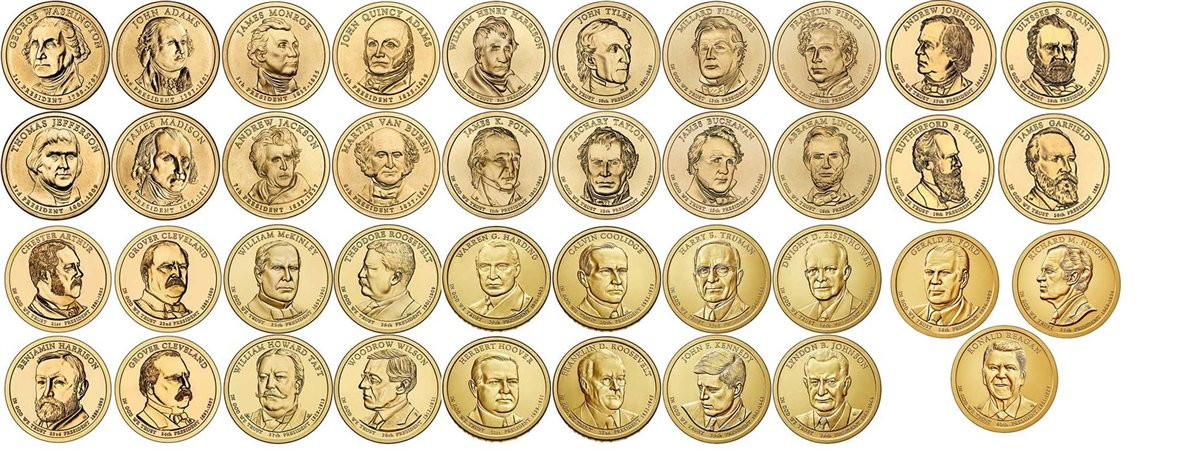 2007 D 2007 2016 39 Coin Presidential Dollar Complete Set Uncirculated