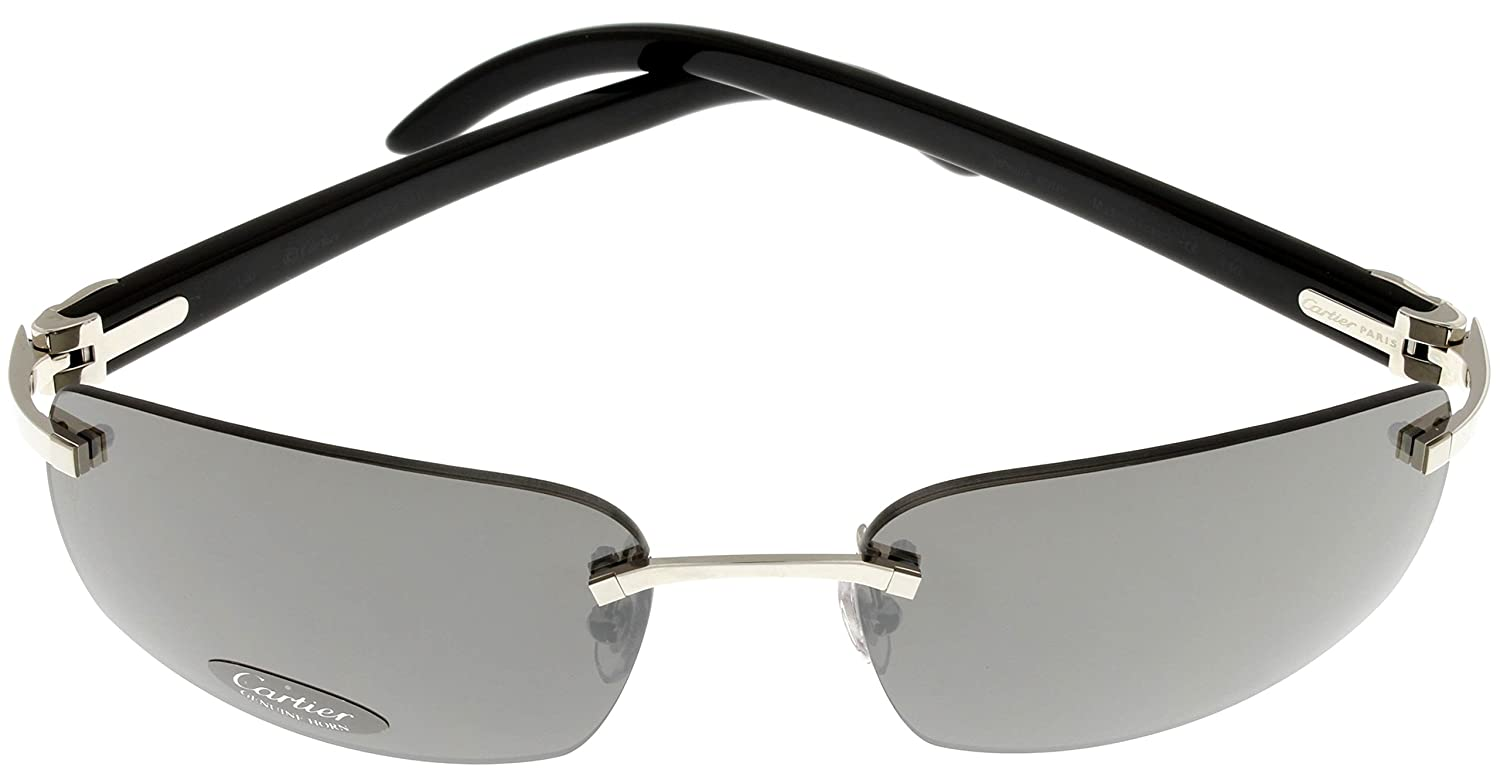 1790b34a2f4 Cartier Sunglasses Unisex Black Marbled Genuine Horn Rimless T8200758   Amazon.co.uk  Clothing