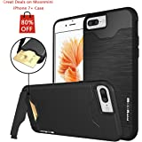 iPhone 7 Plus Case, Moonmini Shockproof Slim Fit Dual Layer Protection Card Slot Holder Hybrid Cover with Kickstand for iPhone 7 Plus (2016) - Black