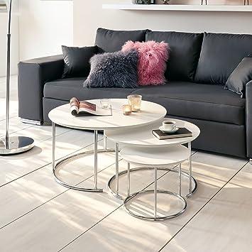 Pureday Miavilla Couchtisch Cara 3er Set Rund Metall Holz Weiß