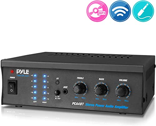 Bluetooth Audio Speaker Power Amplifier – Portable Dual Channel Surround Sound Stereo Receiver – for Amplified Subwoofer Speakers, DVD, MP3, iPhone, Computer, Theater Via 3.5mm RCA – Pyle PCA4BT