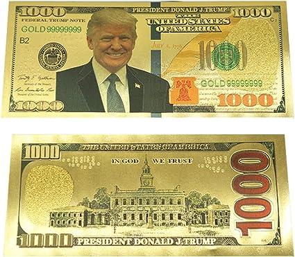 Donald Trump - billete de billete de 1000 dólares chapado en oro de 24 quilates, papel de billete dorado conmemorativo, gran regalo para coleccionistas de monedas/divisas 2 piezas: Amazon.es: Oficina y papelería