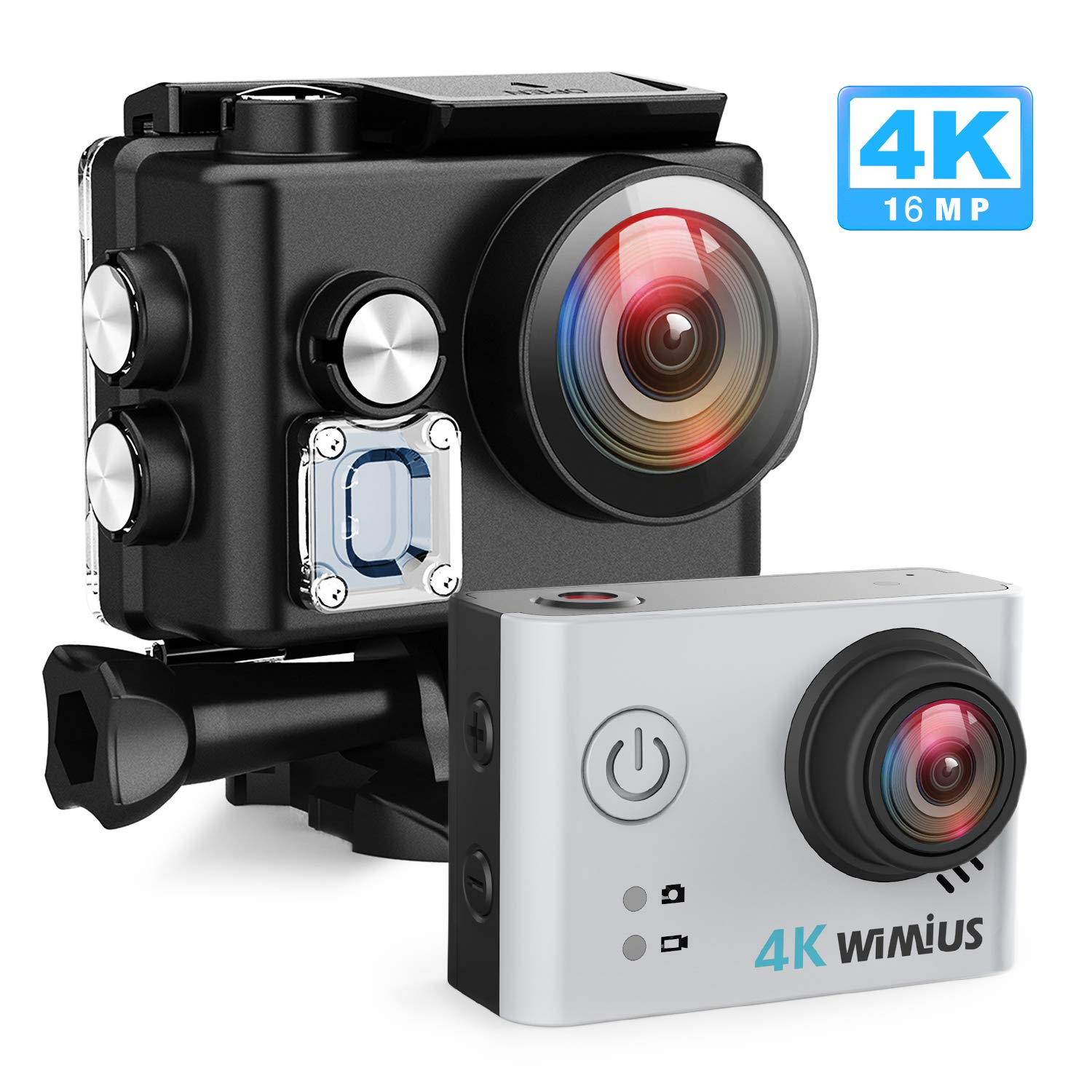 WiMiUS Sports Action Camera 4K Ultra HD 16MP Underwater Waterproof Camera 170° Wide Angle WiFi Sports DV Helmet Cam 2 Batteries Mounting Accessories Kit(Silver)