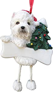"Westie Puppy Ornament with Unique ""Dangling Legs"" Hand Painted and Easily Personalized Christmas Ornament"