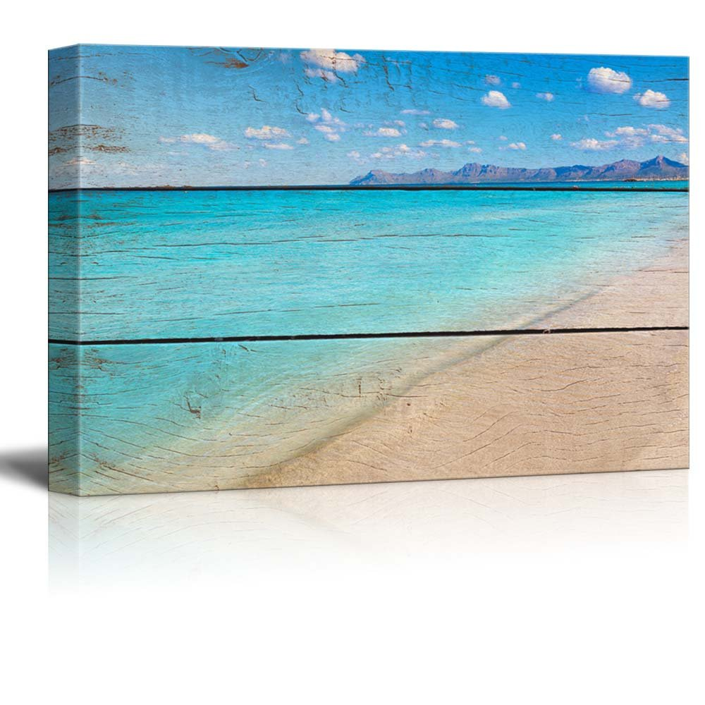 wall26 Canvas Prints Wall Art - Tropical Beach on Vintage Wood Background - 16'' x 24''