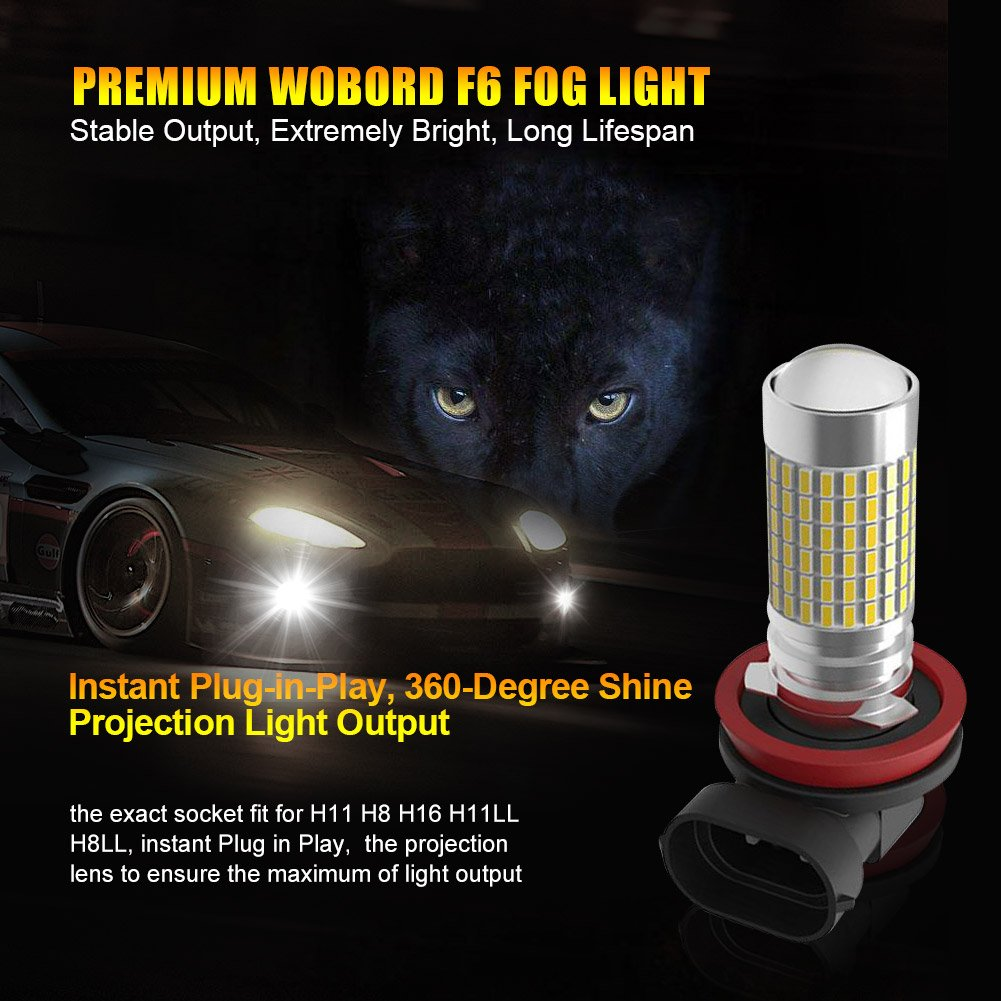 Premium WOBORD H11 H8 H16 DRL Fog Light Lamps Plug-Play Canbus Error-Free Extremely Bright for DRL LED Bulbs Replacement in 2000LM Xenon White LED Fog Light
