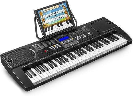 MAX KB1 Teclado piano electrónico portátil e inalámbrico con 61 teclas, altavoces integrados, función de aprendizaje en 3 pasos, pantalla LCD, 24 ...