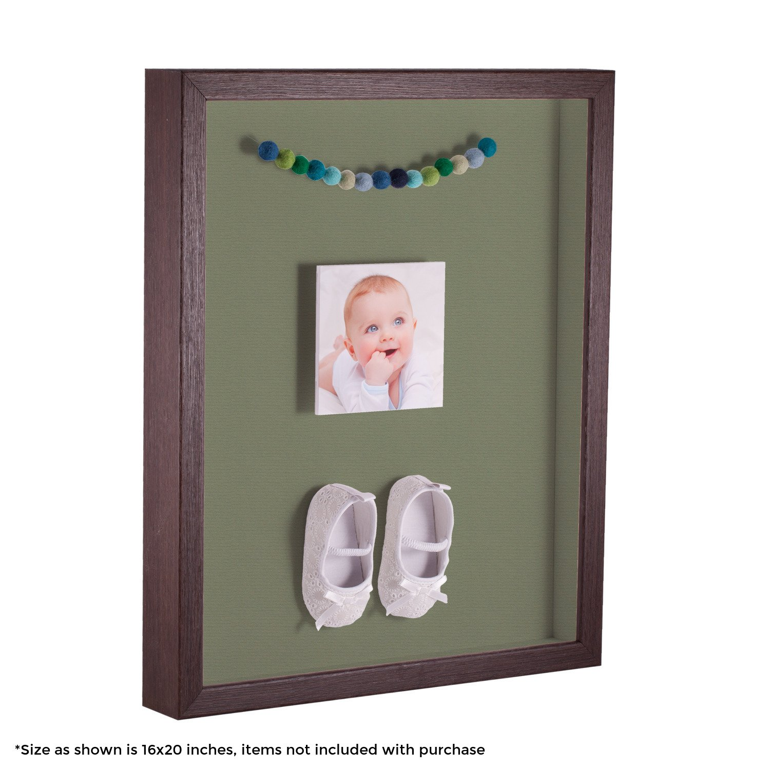 ArtToFrames 12 x 24 Inch Shadow Box Picture Frame, with a Verlinga Brown 1'' Shadowbox Frame and Basil Mat
