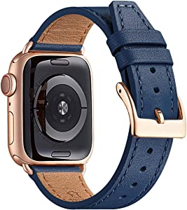 BesBand Watch Band Compatible with Apple Watch Band 38mm 40mm 42mm 44mm for Men and Women,Genuine Leather Replacement Strap for iWatch Series 5/4/3/2/1 (Navy/Rose Gold, 42mm 44mm)