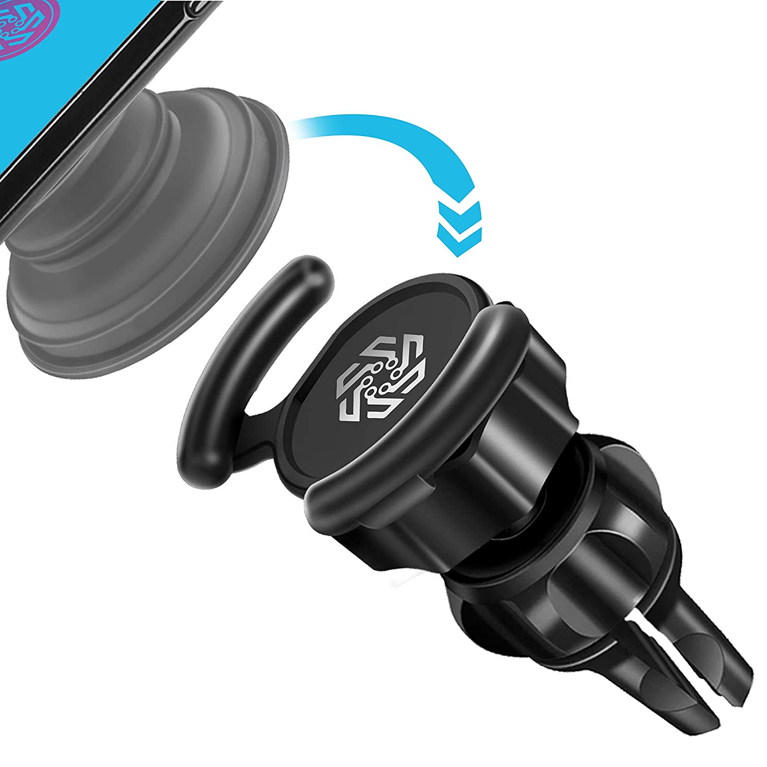 PREON UNLIMITED Pop Clip Car Mount for Socket - 360° Full Rotation Air Vent Car Mount with Adjustable Switch Lock Compatible with iPhone X, XS, XS Max, XR, Samsung Galaxy Note 9/S9+ FCX-1 Pro Mount