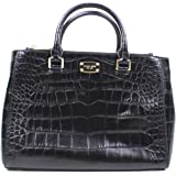 Brand New Michael Kors Kellen Black Medium Embossed Leather Bag 35T6GS0T2N