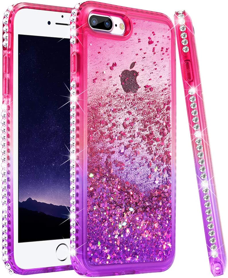 Ruky iPhone 7 Plus Case, iPhone 8 Plus Glitter Case for Women Girls, Colorful Quicksand Series Soft TPU Bling Diamond Flowing Liquid Floating Case for iPhone 6 Plus 6s Plus 7 Plus 8 Plus (Pink Purple)