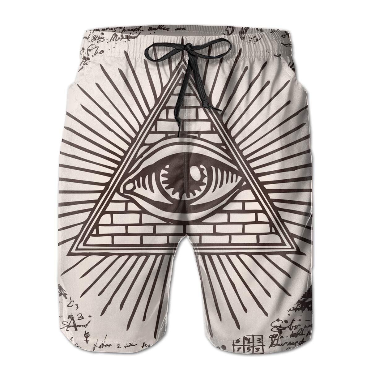 SARA NELL Mens Swim Trunks Freemason Logo God Inside Triangle Pyramid Surfing Beach Board Shorts Swimwear