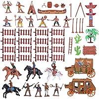 Tomaibaby Cowboys en Indianen Plastic Figuren Speelset Wilde Westen Cowboys en Indianen Modellen Voor Miniatuur Sandbox…