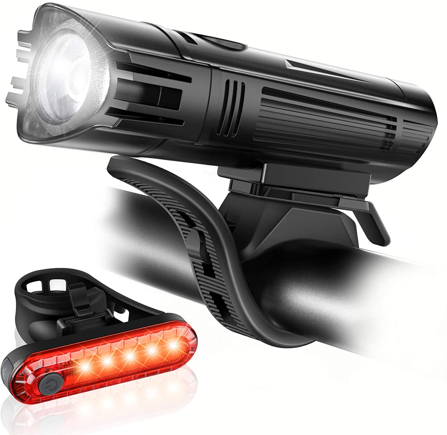 USB Rechargeable LED Bicycle Headlight Bike Head Light Front Rear Lamp Cycling D