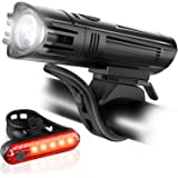Ascher Ultra Bright USB Rechargeable Bike Light Set, Powerful Bicycle Front Headlight and Back Taillight, 4 Light Modes, Easy