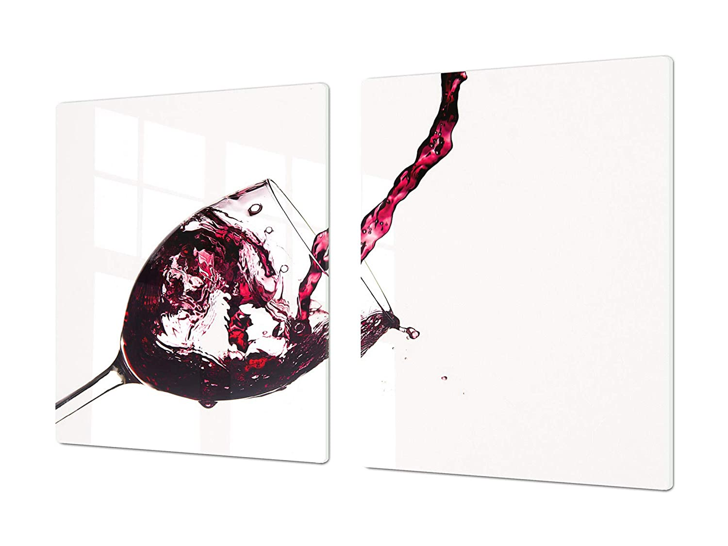 Red wine 3 2x40x52 Big Kitchen Board & Induction Cooktop Cover – Glass Pastry Board – Heat and Bacteria Resistant;Single  80 x 52 cm (31,5  x 20,47 ); Double  40 x 52 cm (15,75  x 20,47 ); Wine Series DD04