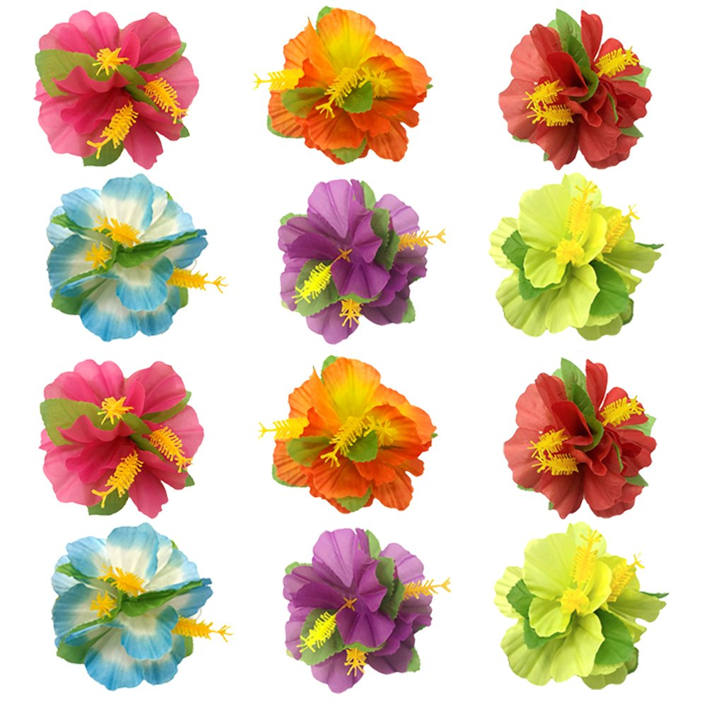 KEPATO Hibiscus Flowers Hair Clips Hawaiian Hair Accessories for Girls Women Beach Wedding Party Supplies (24)