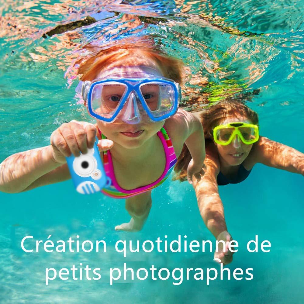 K6 Appareil Photo Num/érique /Étanche pour Enfants Dessin Anim/é CamKing Cam/éra /Étanche Enfant Bleu /Écran de 2,7 Pouces