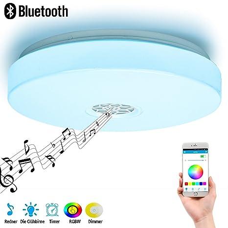 Lámpara de techo con altavoces Bluetooth Smart APP Control Music Luz ...