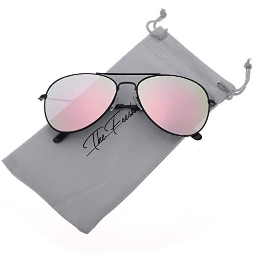 f7d03ad553 The Fresh Classic Large Metal Frame Mirror Lens Aviator Sunglasses with  Gift Box (Black