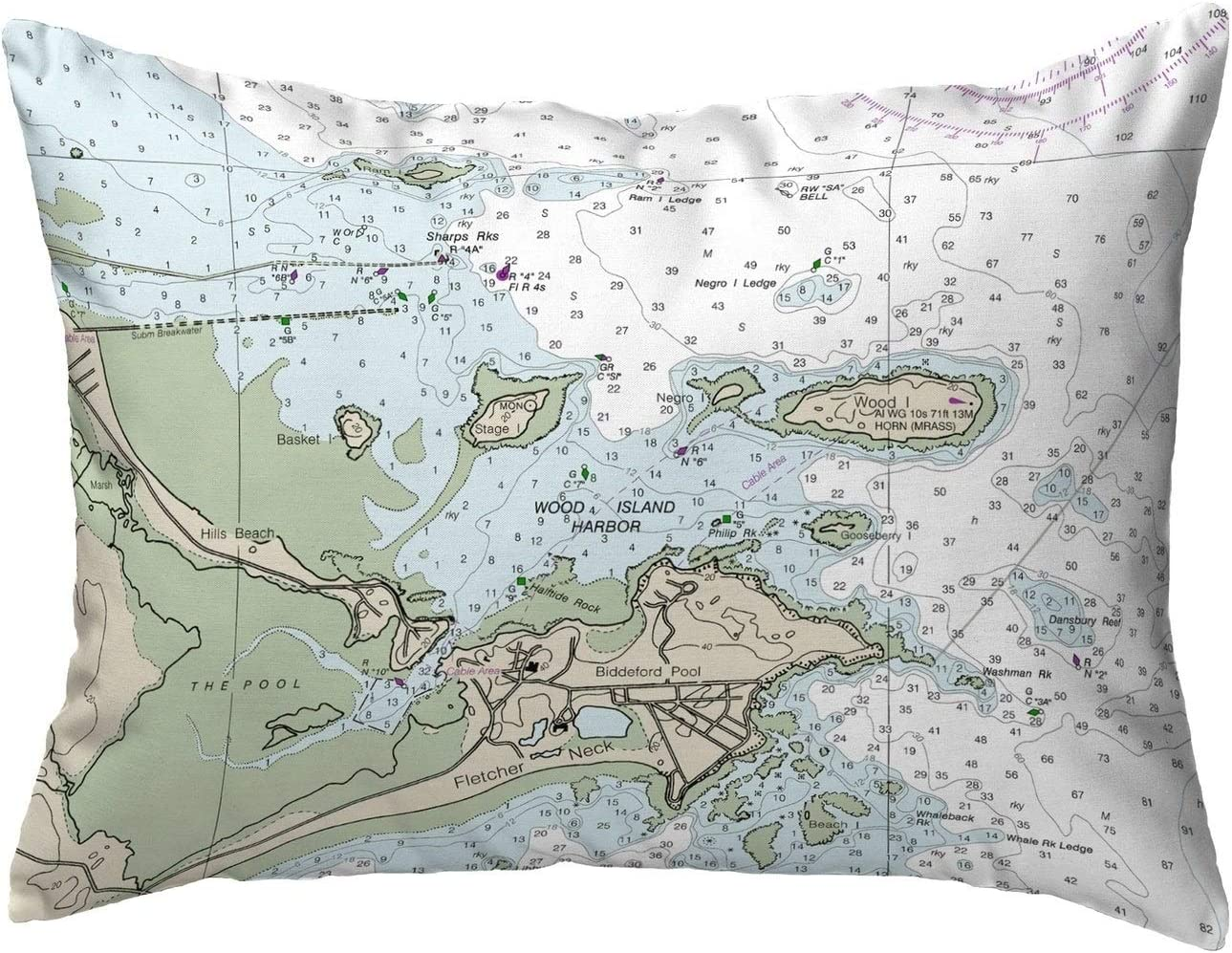 Amazon Com Pool Me Nautical Map Noncorded Indoor Outdoor Pillow 16x20 Multi Color Graphic Print Coastal Polyester One Water Resistant Home Kitchen