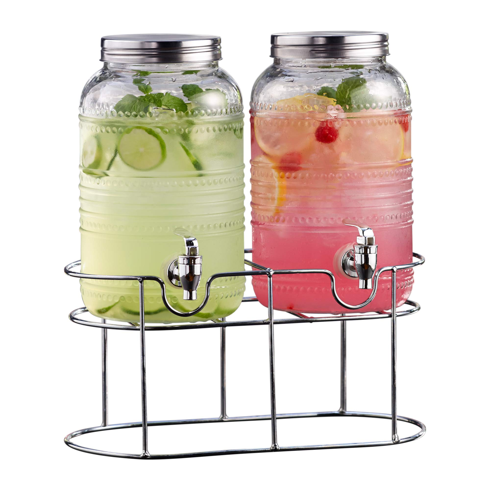 Style Setter Beverage Drink Double Dispensers Glass & Metal Stand & Lid (Set of 2), Clear, 1 Gallon Each by Style Setter