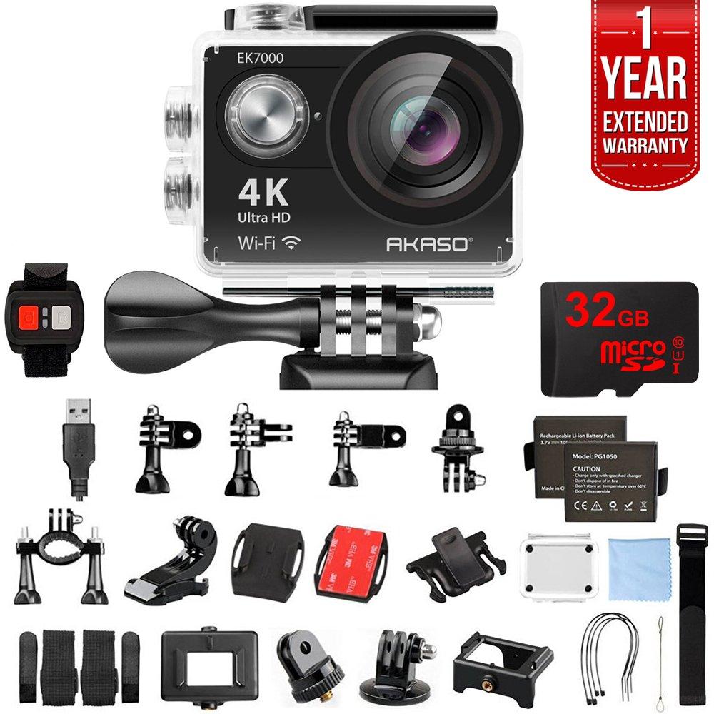 AKASO EK7000 Ultra HD 4k WiFi 170 Degree Wide Waterproof Sports Action Camera Black (EK7000) 32GB MicroSD High-Speed Memory Card & 1 Year Extended Warranty