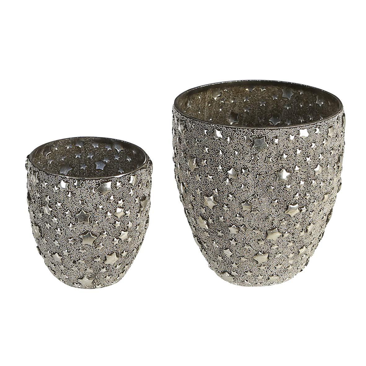 Casablanca Windlicht - Sparkle - Glas, Champagner Höhe 13, 5cm - Glas,mit Sterndekor u. Perlendekor