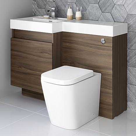 Conjunto Mueble Baño Cisterna Oculta Nogal Para Inodoro Wc
