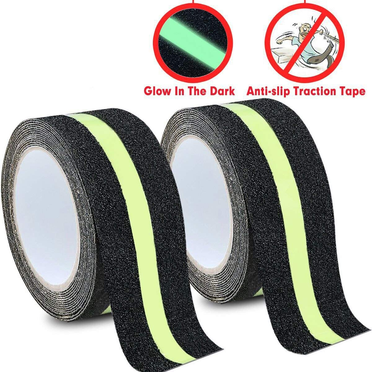 DEALIKEE Anti Slip Traction Tape, None Skid Glow in The Dark Walk Strip Safety Tape with 3M Best Grip Abrasive Adhesive for Stairs, Tread Step, Gaffers.(2 Pack, 2'' Wide 16.4' Long Roll/1pc)