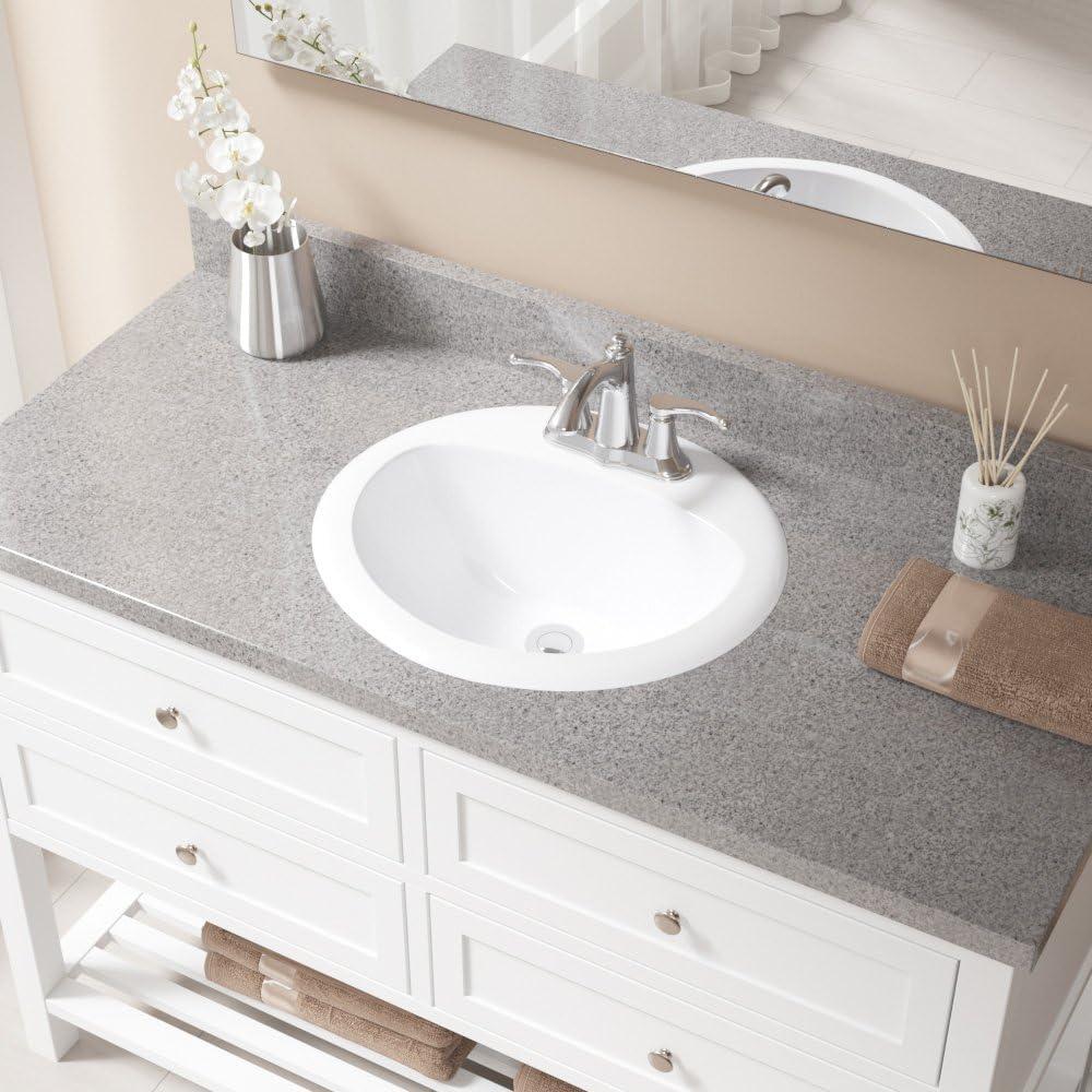 O2018-White Overmount Porcelain Bathroom Sink Ensemble Antique Bronze Pop-Up Drain