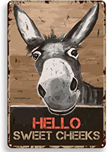 Funny Bathroom Quote Metal Tin Sign Wall Decor Vintage Hello Sweet Cheeks Donkey Tin Sign for Office/Home/Classroom Bathroom Decor Gifts Best Farmhouse Decor Gift Ideas for Friends - 8x12 Inch