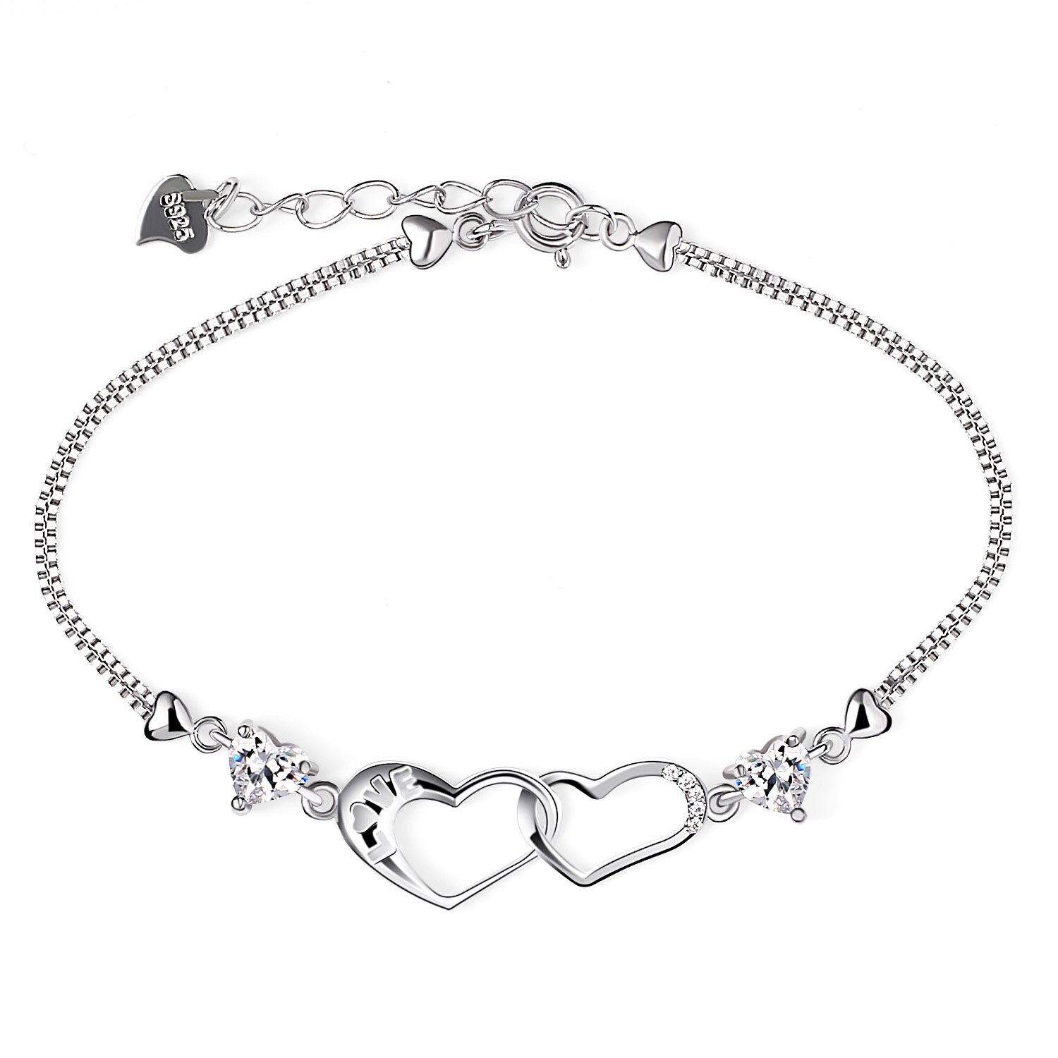 B.Catcher Womens Silver Bracelet Double Heart Charm Pendant Sterling Silver 925 Plated Cubic Zirconia BC-73