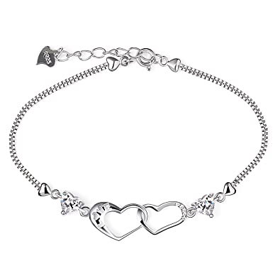 Amazon.com  B.Catcher Bracelet Womens 925 Sterling Silver Double ... fabf9c2ad4