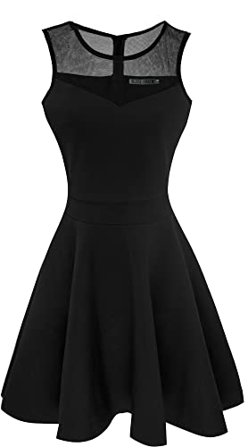 Heloise Fashion Women's A-Line Pleated Sleeveless Little Cocktail Party Dress With Floral Lace - Black cocktail dress
