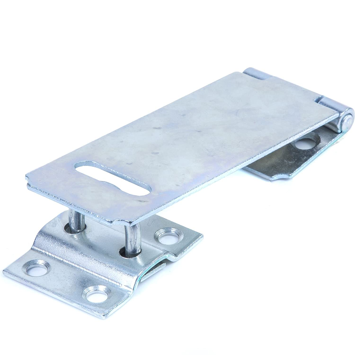 Zinc Safety Hasp & Staple - 115mm Silver Padlock/Lock Security Door Latch White Hinge