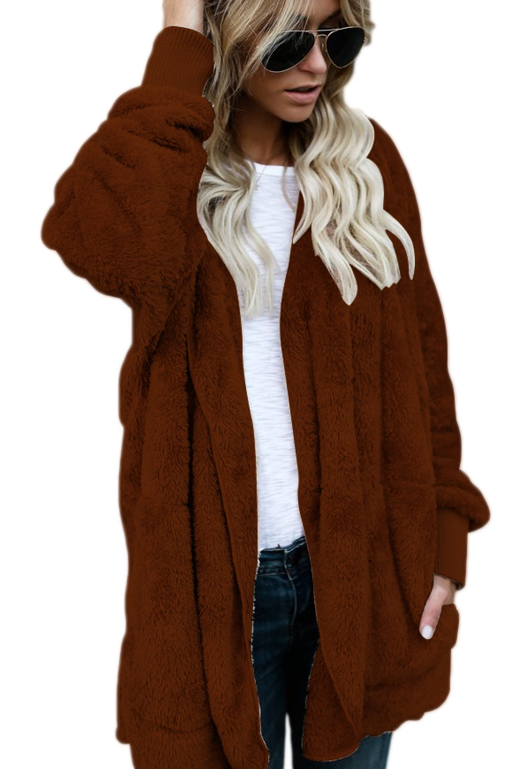 Yacun Women Fuzzy Cardigan Open Front Hooded Jacket Coat Outwear CAYHC8655