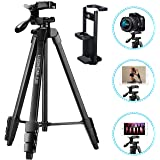 Phone Tripod for iPhone, 60-Inch Camera Tripod for Ipad, Lusweimi Tripod with 2 in 1 Tripod Mount Holder for Cell Phone/Ipad/Gopro/All Camera, Tripod with Carry Bag for Travel/Photography/Video