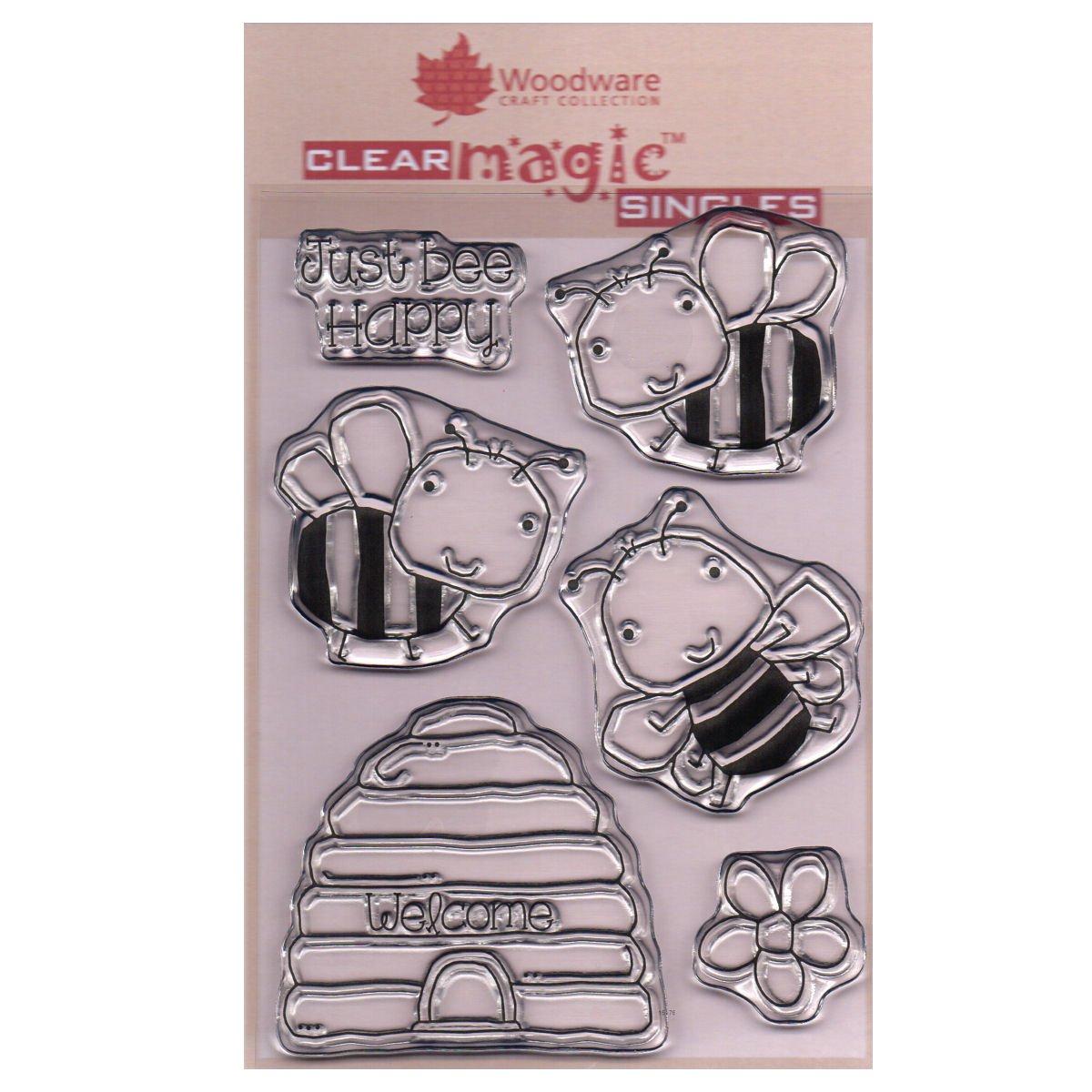 transparent Woodware frs670/klar Magic Bee Happy Stempel Set