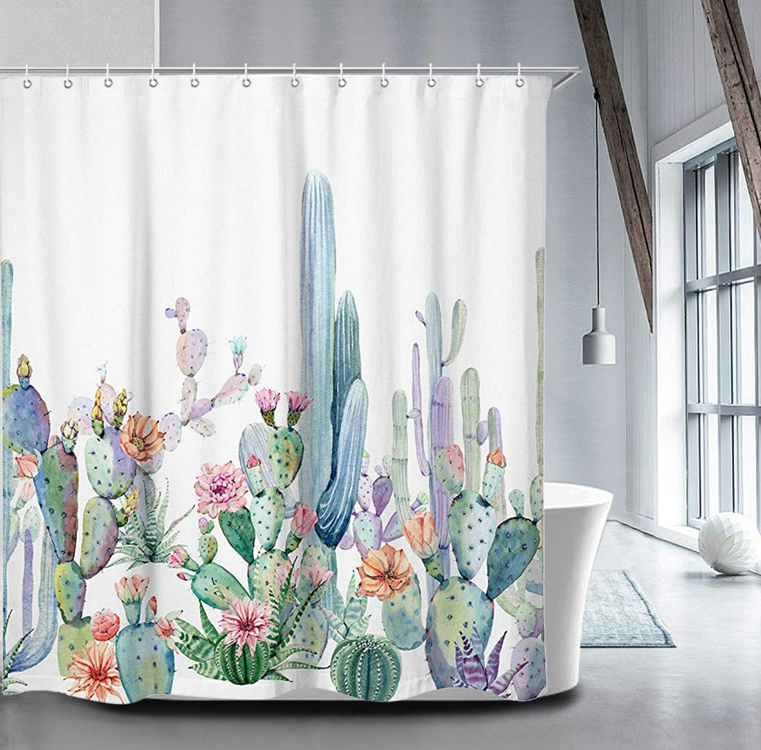 Livilan Cactus Shower Curtain Set 70.8'' x 70.8'', Decorative Waterproof Quick Dry Thick Polyester Fabric Bathroom Curtain, Green