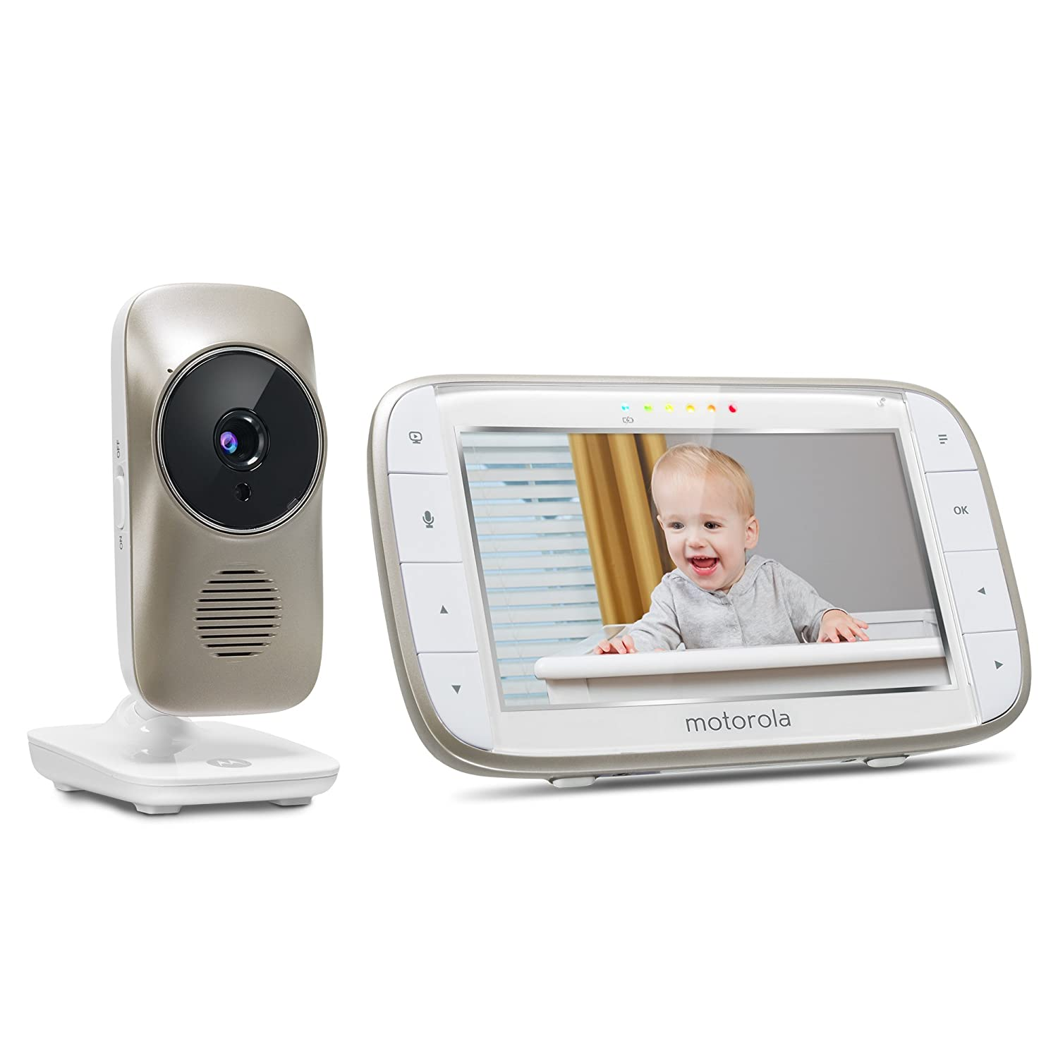 Two-Way Audio and Room Temperature Display Motorola MBP845CONNECT 5 Video Baby Monitor with Wi-Fi Viewing Digital Zoom